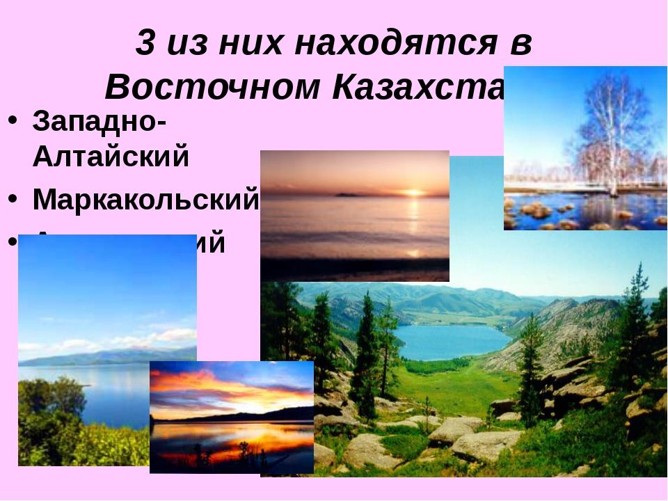 3 из них находятся в Восточном Казахстане: Западно-Алтайский Маркакольский Ал...