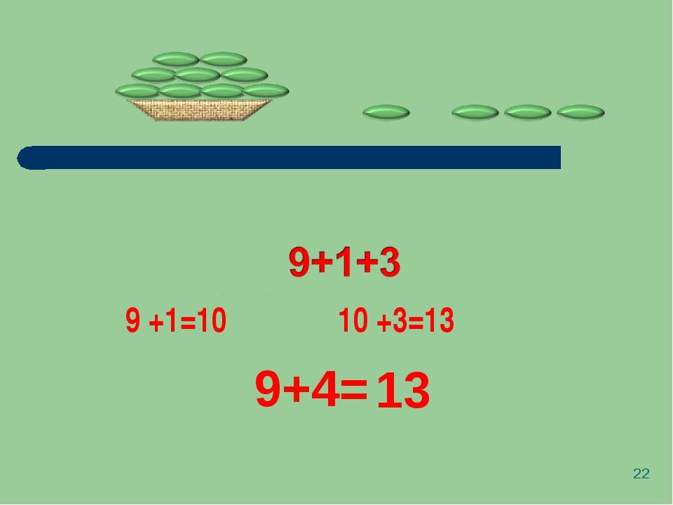 * 9+4= 9 +1=10 10 +3=13 13