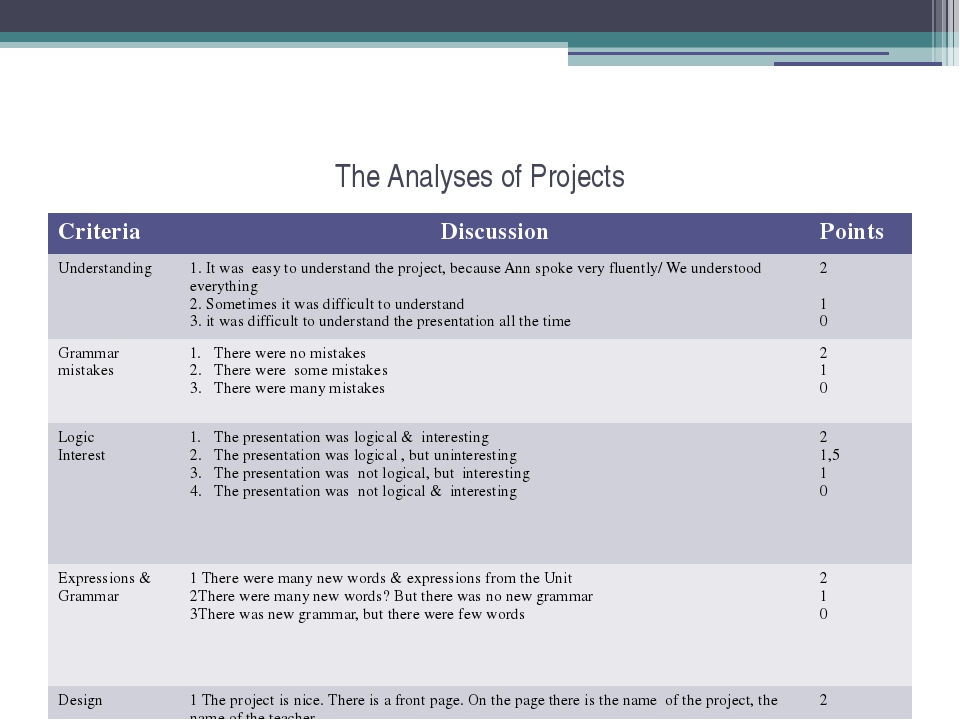 The Analyses of Projects Criteria Discussion Points Understanding 1.It was ea...