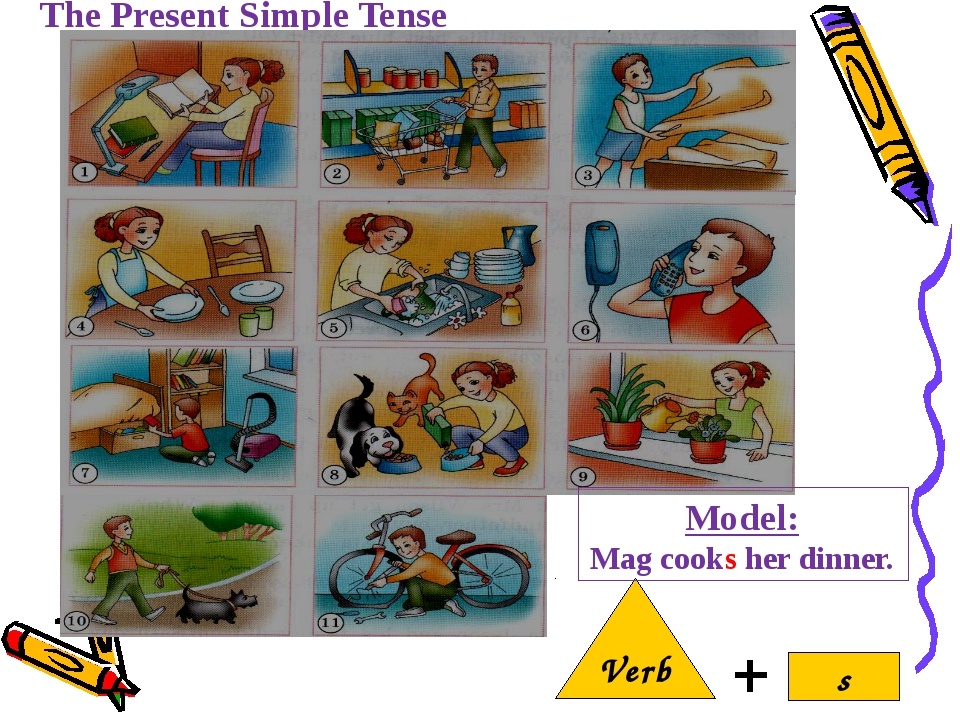 The Present Simple Tense Verb s Model: Mag cooks her dinner.