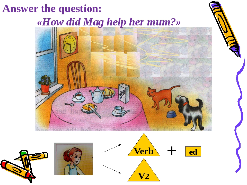 Answer the question: «How did Mag help her mum?» Verb ed V2