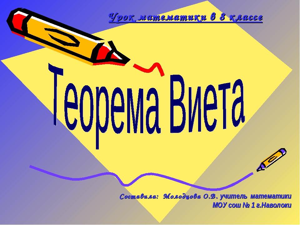 Урок математики в 8 классе Составила: Молодцова О.В. учитель математики МОУ...