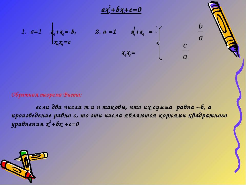 ax2+bx+c=0 1. a=1 х1+х2=-b, 2. a =1 х1+х2 = -  х1х2=c х1х2=  Обратная т...