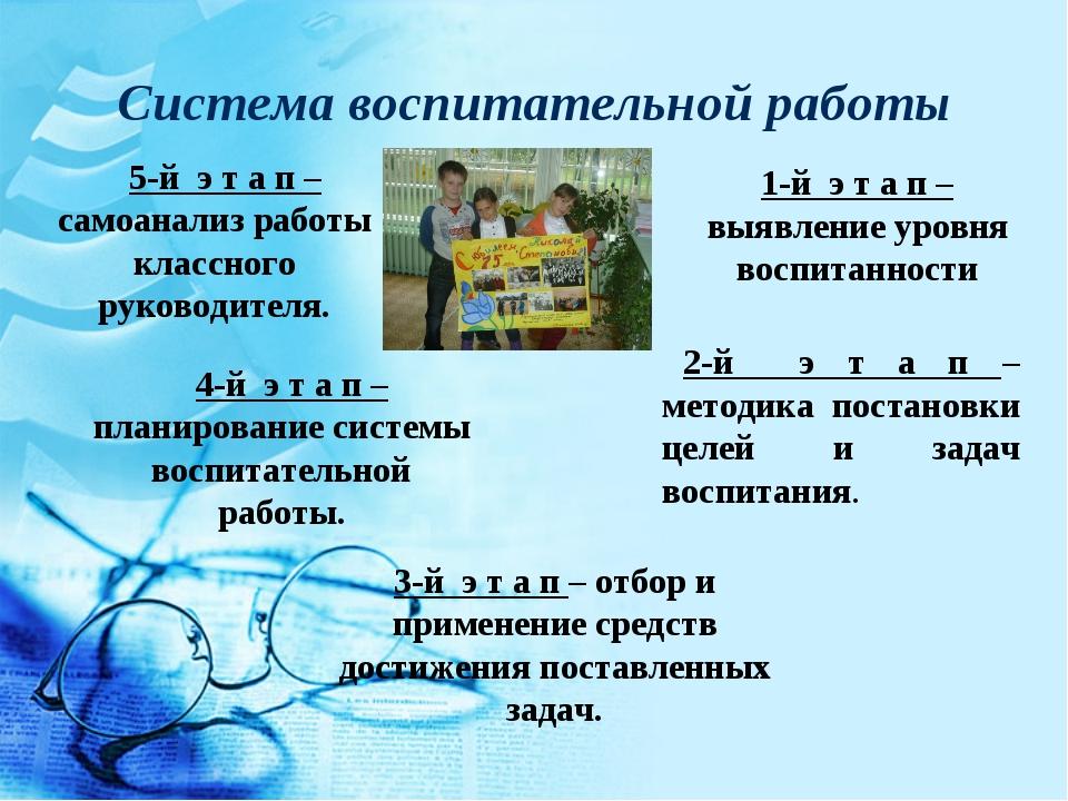 Система воспитательной работы 1-й э т а п – выявление уровня воспитанности 2-...