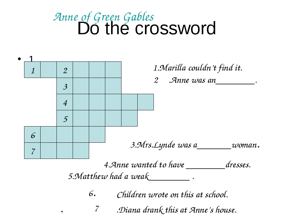 Do the crossword 1 2 4 1 3 5 6 7 1.Marilla couldn't find it. 3.Mrs.Lynde was...