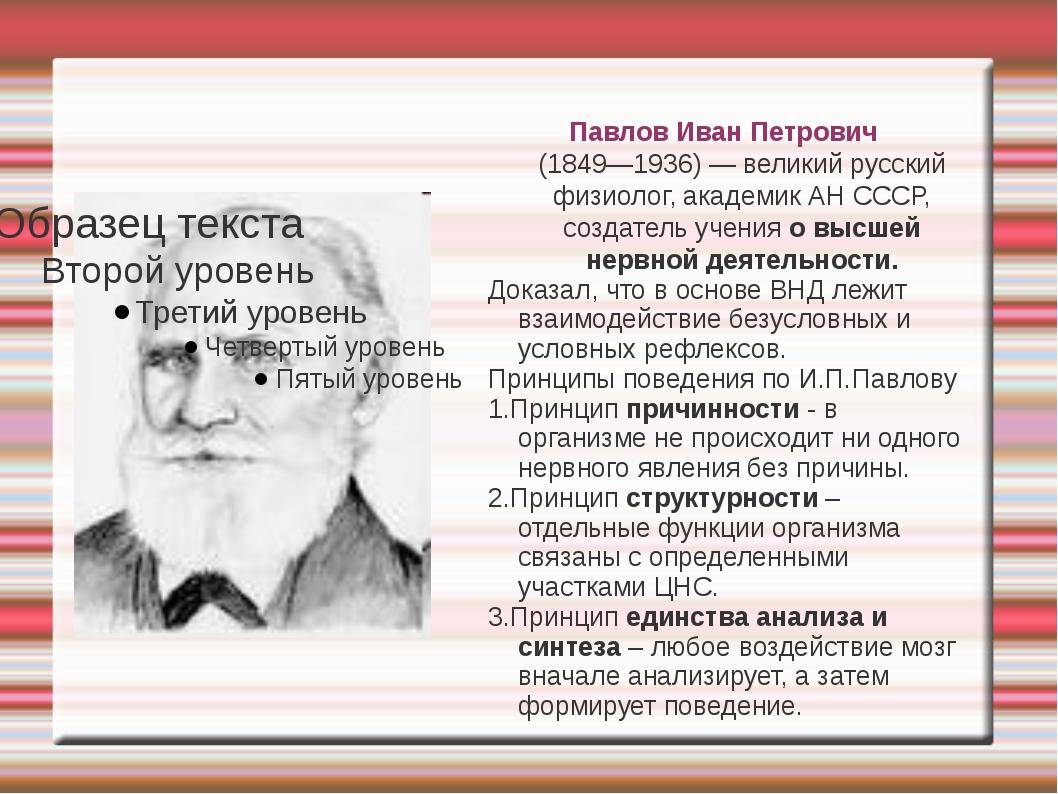 Павлов Иван Петрович (1849—1936) — великий русский физиолог, академик АН СССР...