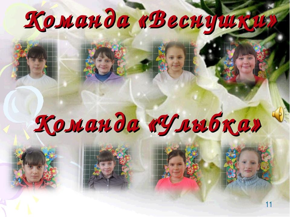 * Команда «Веснушки» Команда «Улыбка»