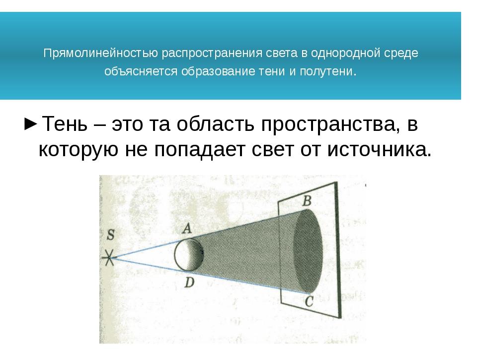 Прямолинейностью распространения света в однородной среде объясняется образо...