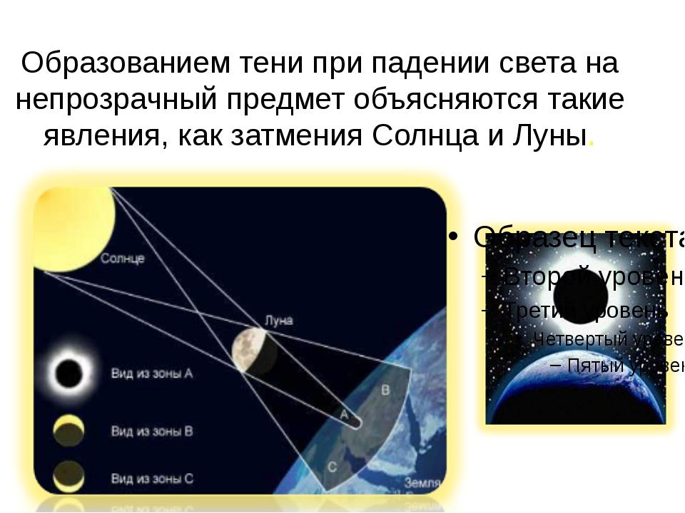 Образованием тени при падении света на непрозрачный предмет объясняются такие...