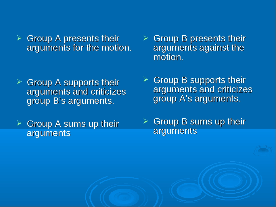 Group A presents their arguments for the motion. Group A supports their argum...