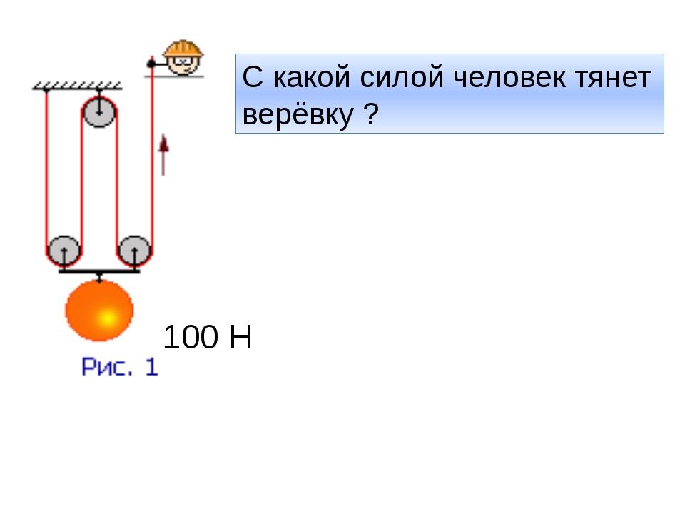 100 Н С какой силой человек тянет верёвку ?