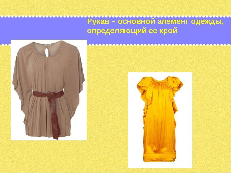 Рукав – основной элемент одежды, определяющий ее крой