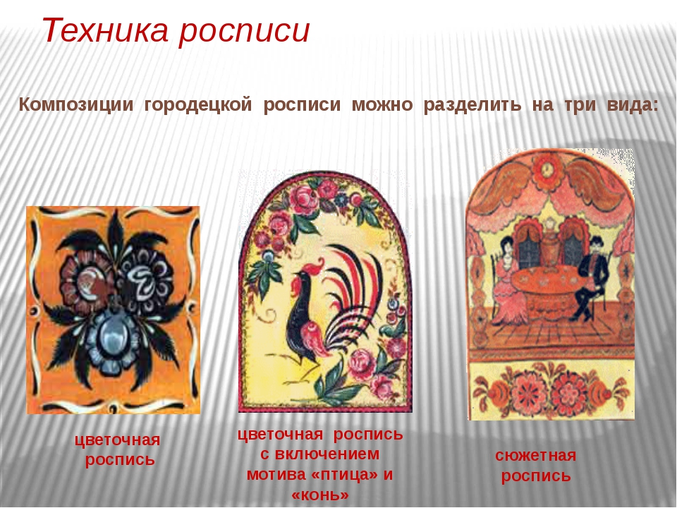 Техника росписи  Композиции городецкой росписи можно разделить на три вида:...