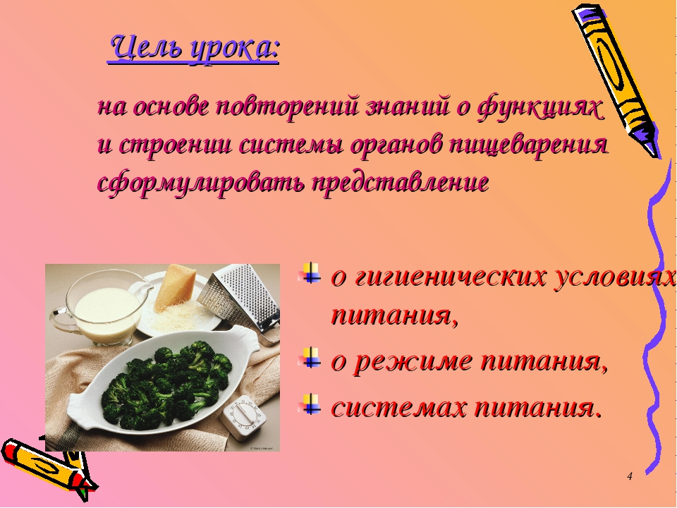 * Цель урока: о гигиенических условиях питания, о режиме питания, системах пи...