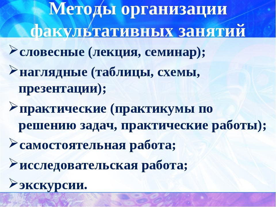 Методы организации факультативных занятий словесные (лекция, семинар); нагляд...