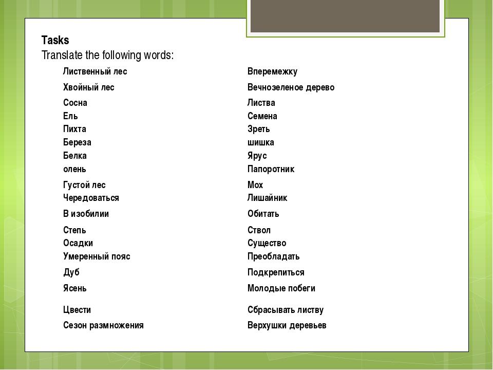 Tasks Translate the following words: Лиственный лес  Вперемежку  Хвойный ле...