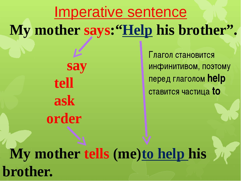 "Imperative sentence My mother says:""Help his brother"". say tell ask order My..."