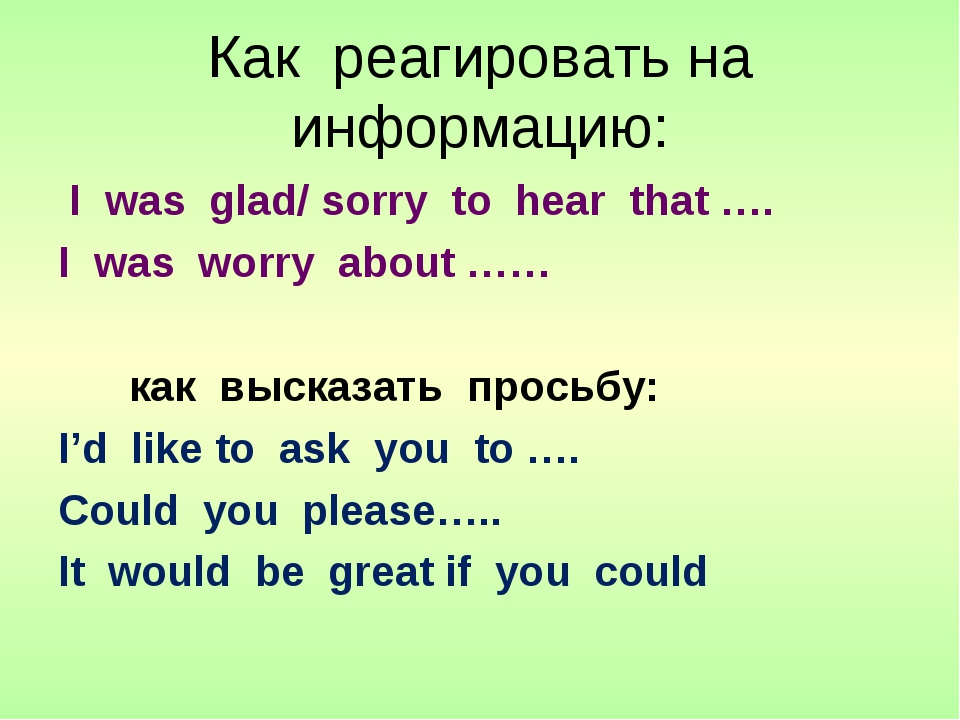 Как реагировать на информацию: I was glad/ sorry to hear that …. I was worry...