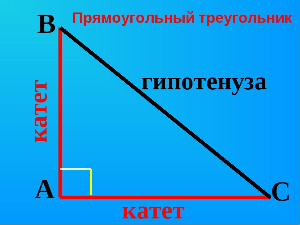 A B C гипотенуза катет катет Прямоугольный треугольник...