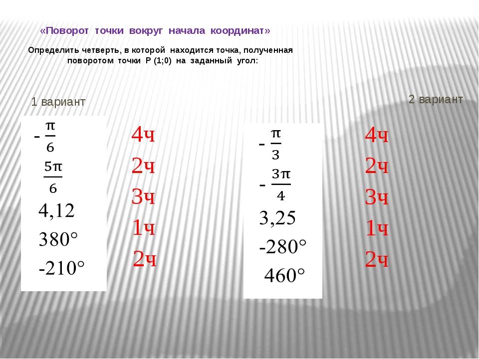 «Поворот точки вокруг начала координат» Определить четверть, в которой наход...