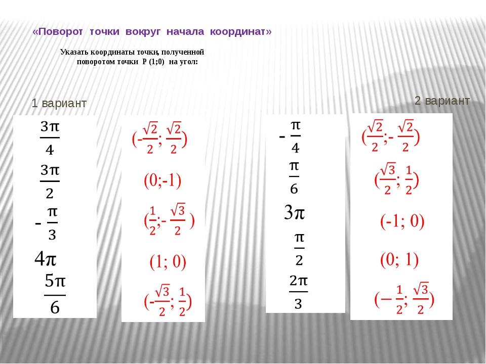 «Поворот точки вокруг начала координат» Указать координаты точки, полученной...