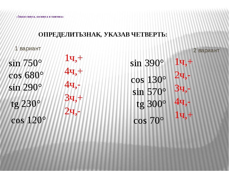 «Знаки синуса, косинуса и тангенса» 1 вариант 2 вариант sin 750° cos 680° si...