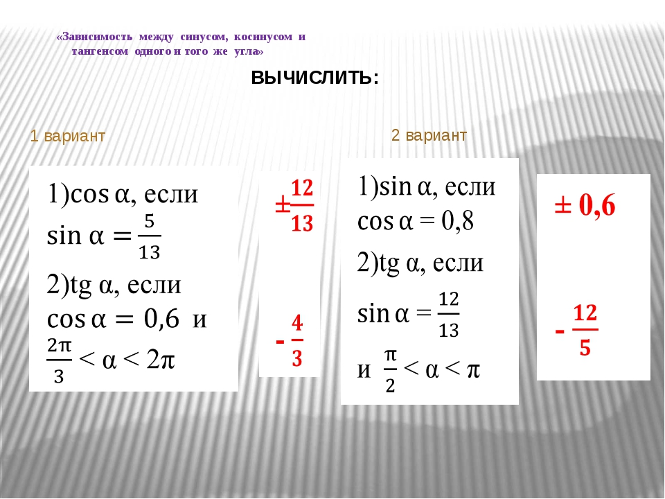 1 вариант «Зависимость между синусом, косинусом и тангенсом одного и того же...
