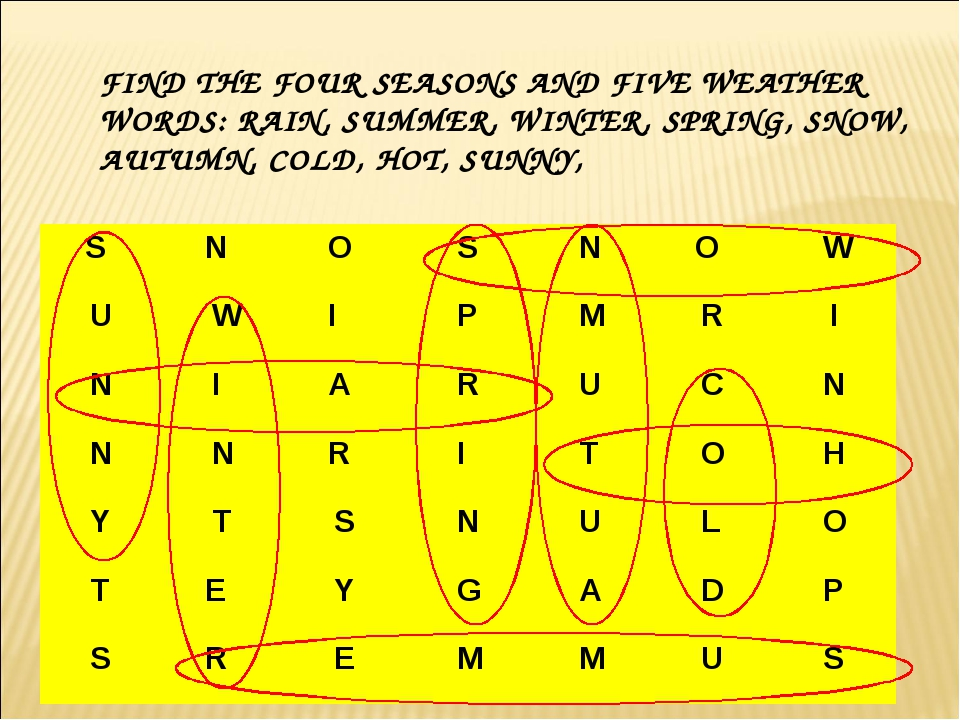 FIND THE FOUR SEASONS AND FIVE WEATHER WORDS: RAIN, SUMMER, WINTER, SPRING, S...