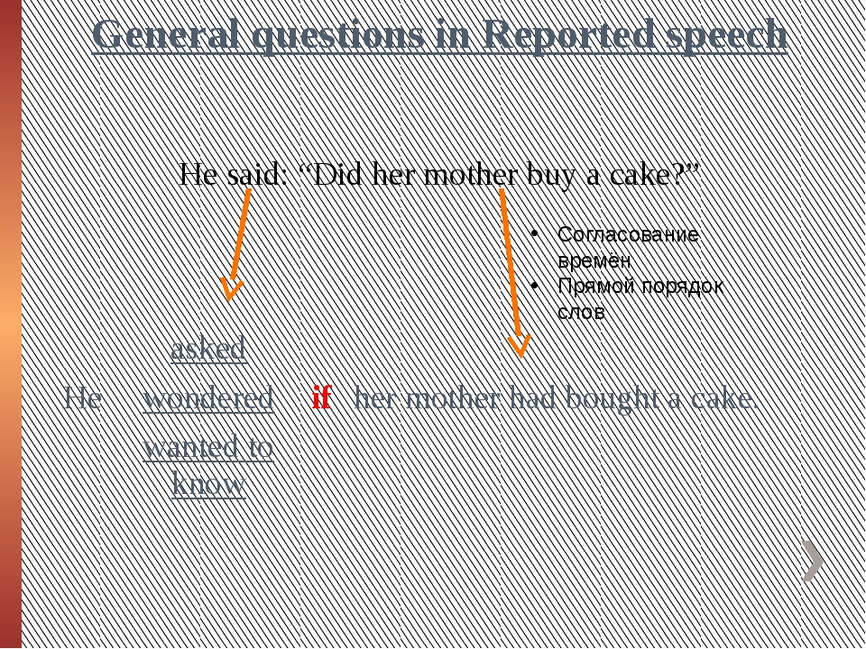"General questions in Reported speech He said: ""Did her mother buy a cake?"" Со..."