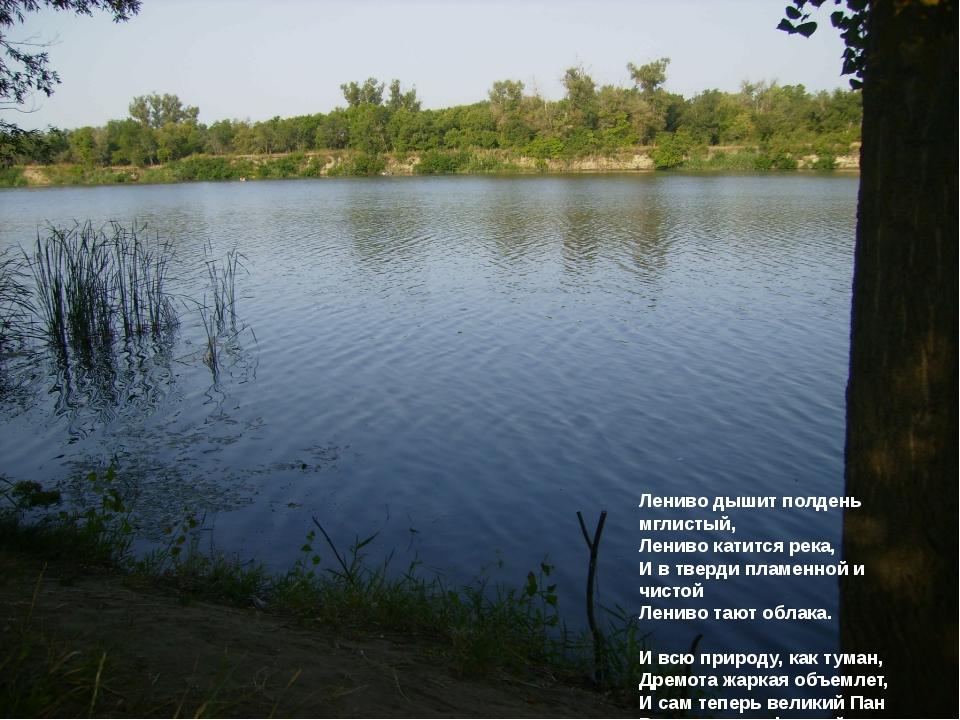 Лениво дышит полдень мглистый, Лениво катится река, И в тверди пламенной и чи...