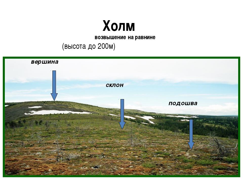 Холм возвышение на равнине (высота до 200м)