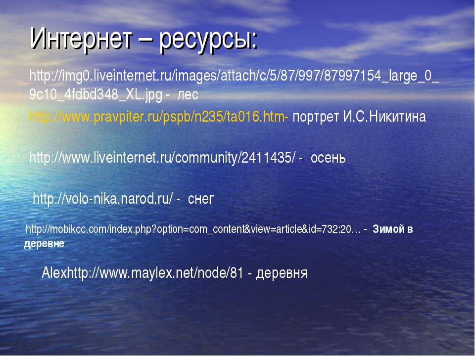 Интернет – ресурсы: http://www.pravpiter.ru/pspb/n235/ta016.htm- портрет И.С....