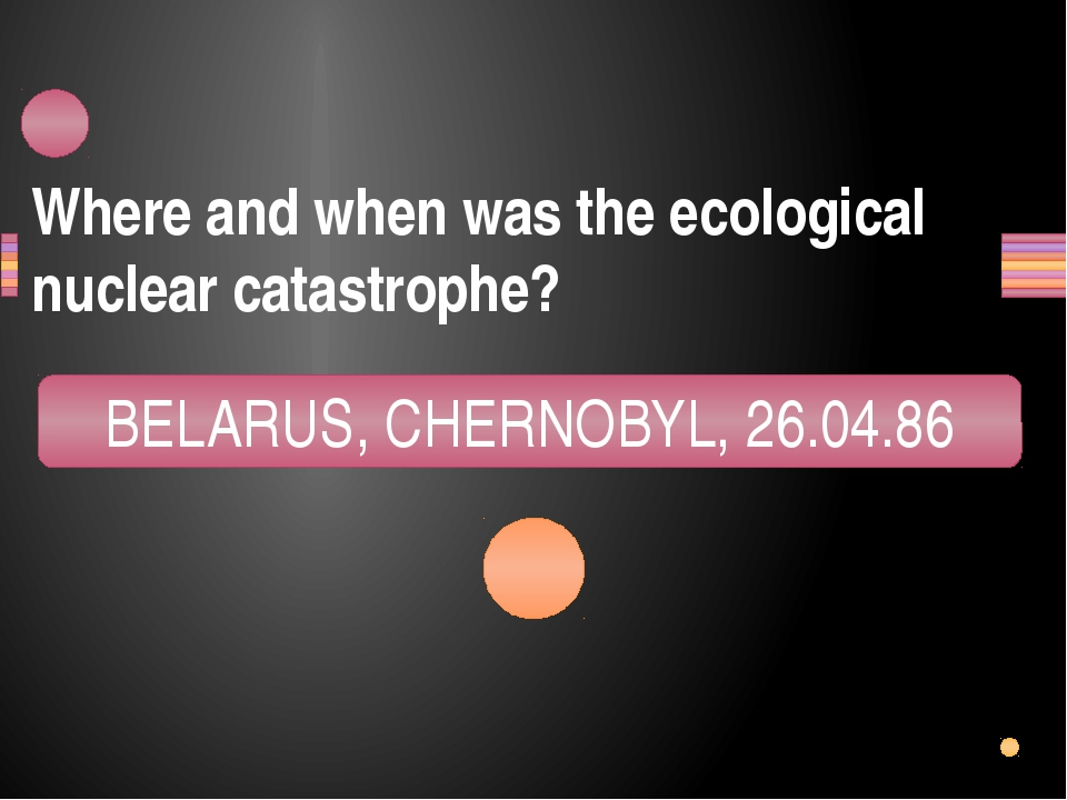 Where and when was the ecological nuclear catastrophe? LEBARUS, RECHNOLYB, 68...