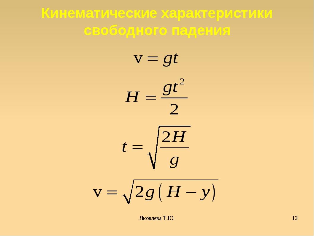 Яковлева Т.Ю. * Кинематические характеристики свободного падения Яковлева Т.Ю.