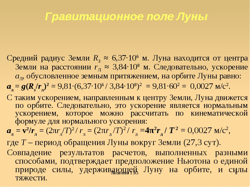 Яковлева Т.Ю. * Средний радиус Земли RЗ ≈ 6,37·106 м. Луна находится от центр...