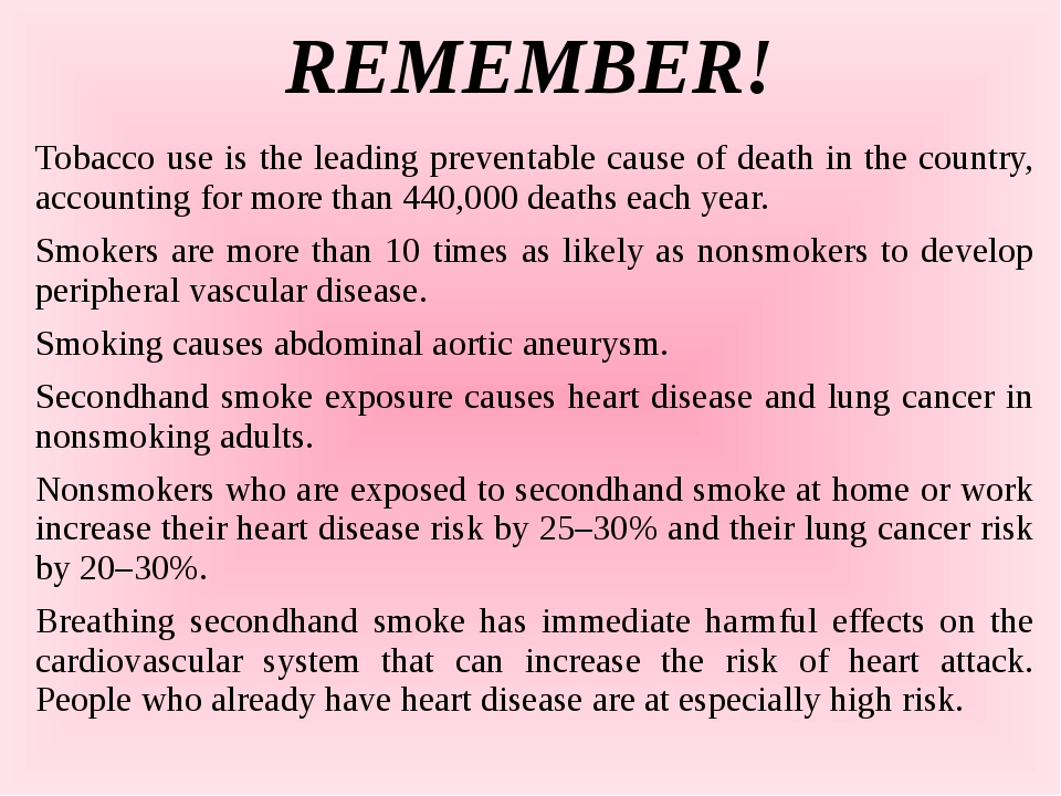 REMEMBER! Tobacco use is the leading preventable cause of death in the countr...