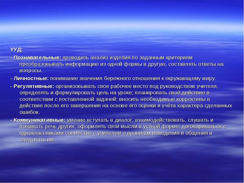 УУД: - Познавательные: проводить анализ изделия по заданным критериям преобра...