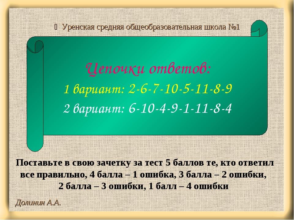 Долинин А.А.  Уренская средняя общеобразовательная школа №1 Цепочки ответов:...
