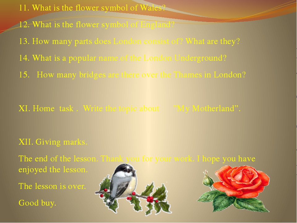 11. What is the flower symbol of Wales? 12. What is the flower symbol of Engl...