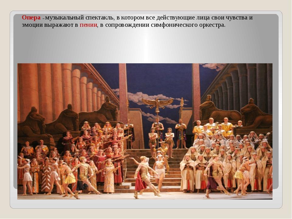 Опера – музыкальный спектакль, в котором все действующие лица свои чувства и...
