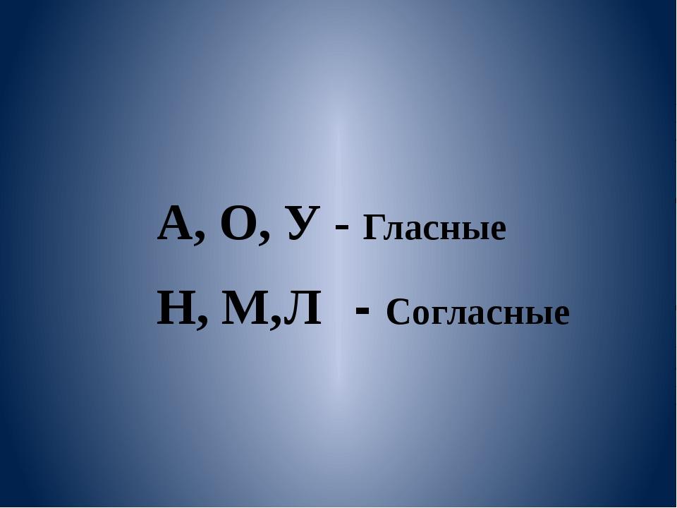 А, О, У - Гласные Н, М, - Согласные Л
