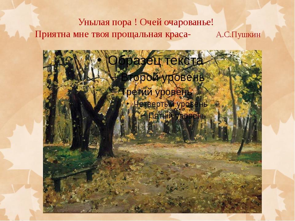 Унылая пора ! Очей очарованье! Приятна мне твоя прощальная краса- А.С.Пушкин