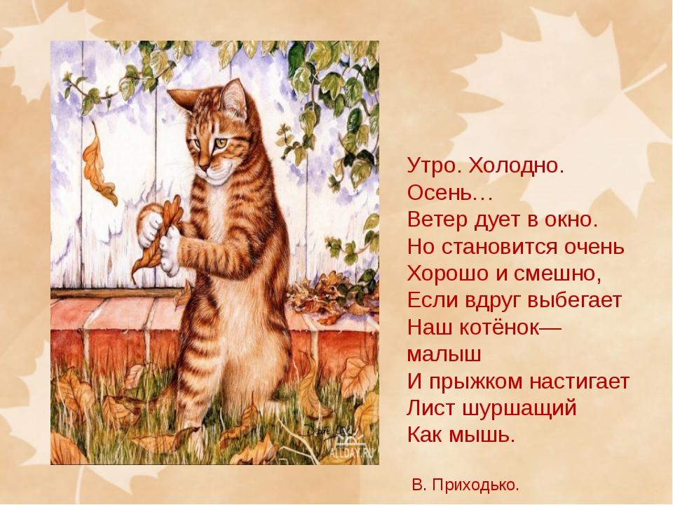 Утро. Холодно. Осень… Ветер дует в окно. Но становится очень Хорошо и смешно,...