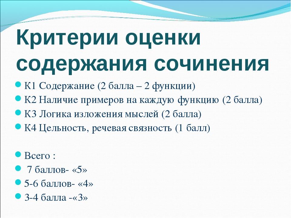 Критерии оценки содержания сочинения К1 Содержание (2 балла – 2 функции) К2 Н...
