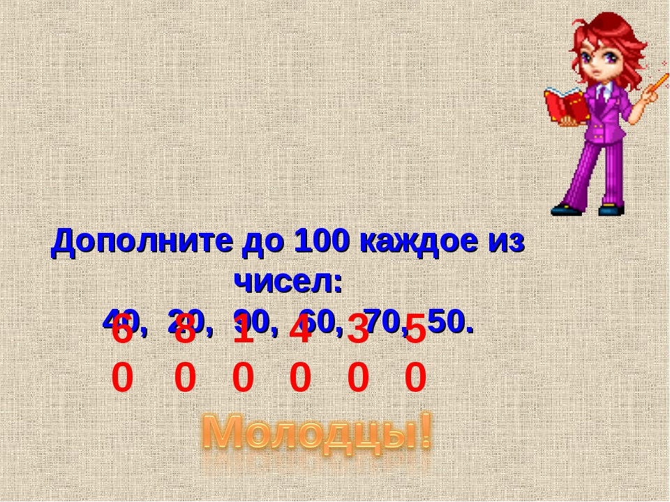 Дополните до 100 каждое из чисел: 40, 20, 90, 60, 70, 50. 60 80 10 40 30 50