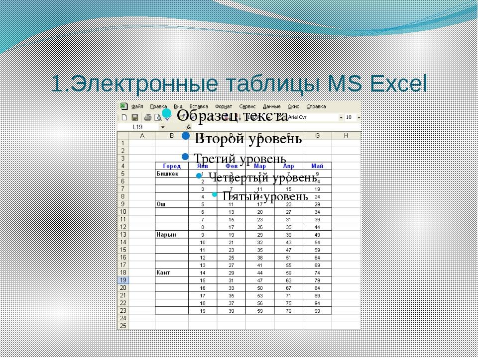 1.Электронные таблицы MS Excel