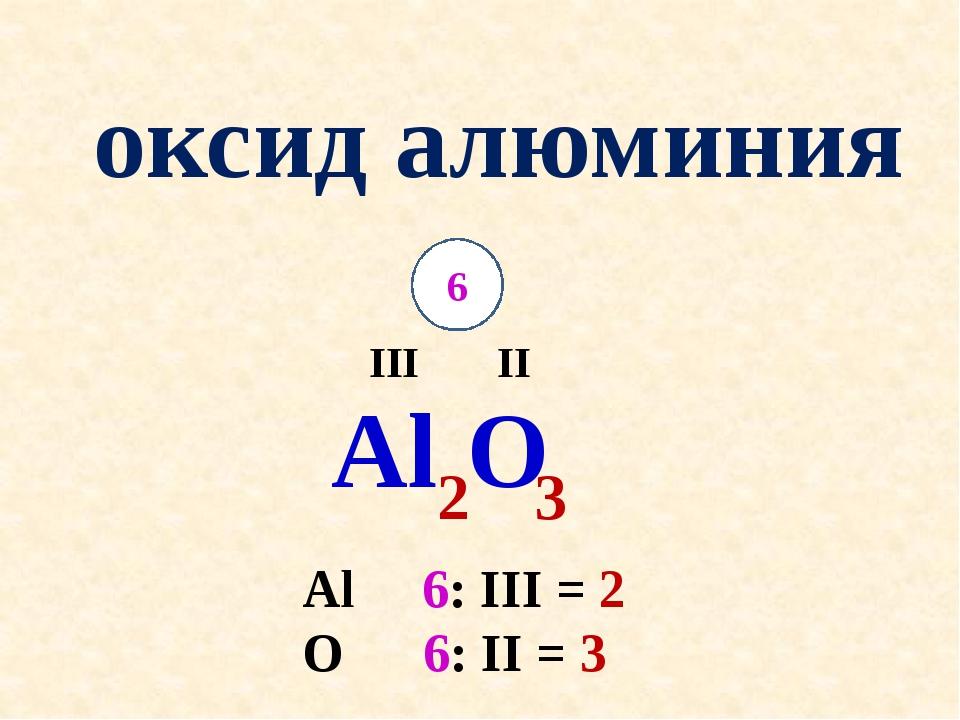 оксид алюминия Al II O III 6 2 Al 6: III = 2 O 6: II = 3 3
