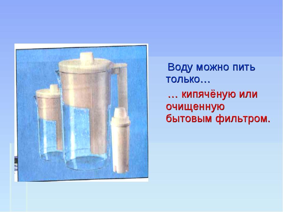 Воду можно пить только… … кипячёную или очищенную бытовым фильтром.