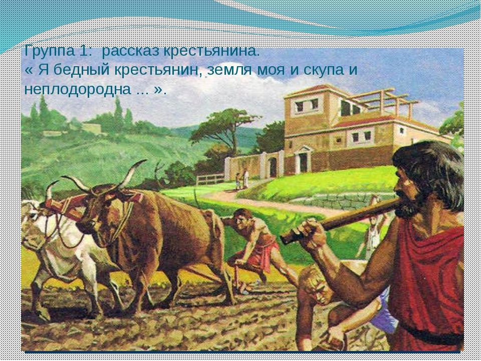 Группа 1: рассказ крестьянина.  « Я бедный крестьянин, земля моя и скупа...