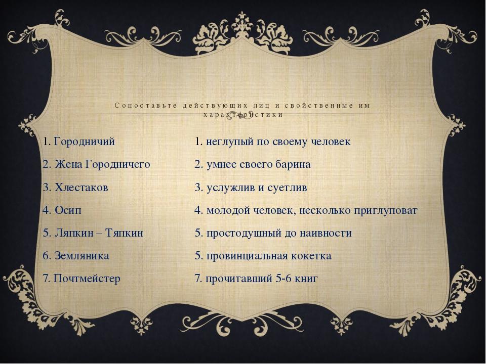 1. Городничий 2. Жена Городничего 3. Хлестаков 4. Осип 5. Ляпкин – Тяпкин 6....